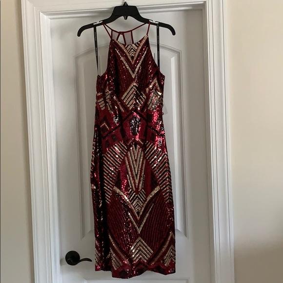 Bisou Bisou Dresses & Skirts - Sequin cocktail dress, burgundy/gold/blk
